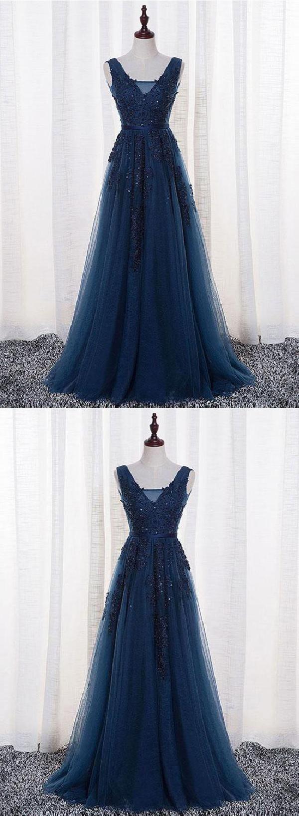 Discount absorbing vneck bridesmaid dress dark blue prom dress