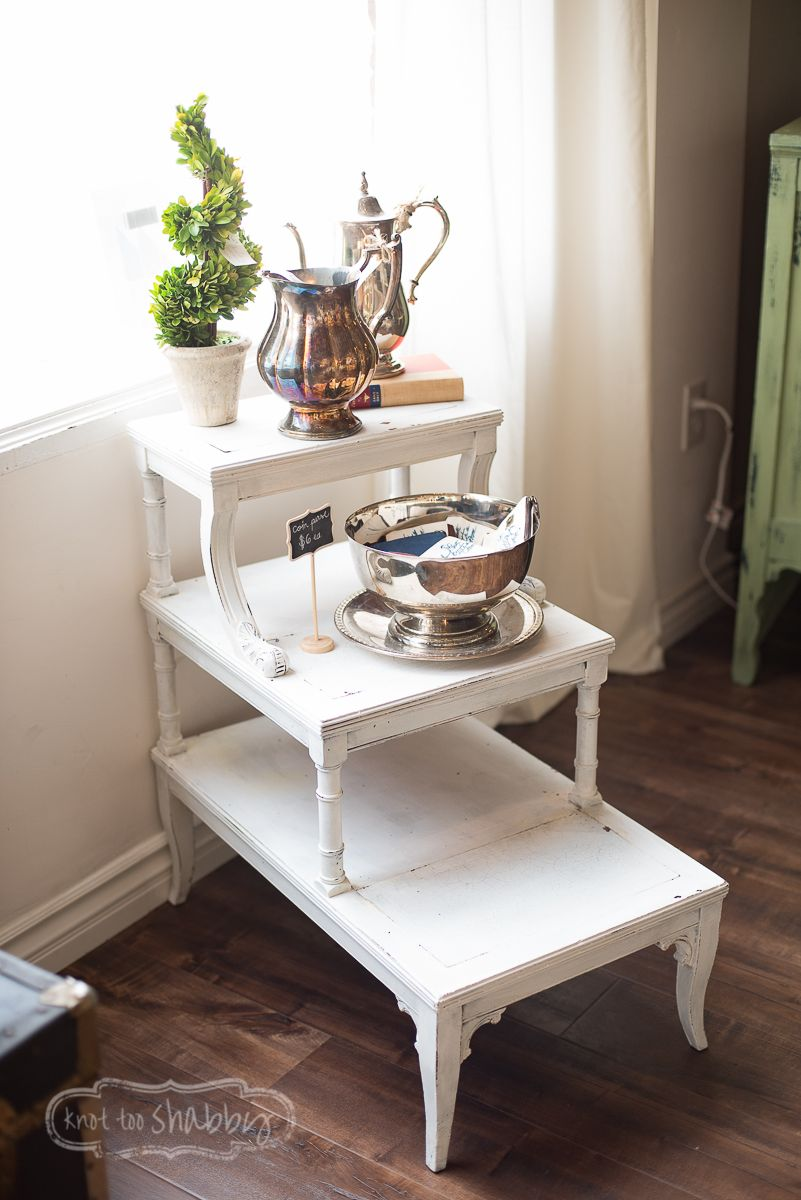 3 Tier Side Table Sporting An Antique Shape With Carved Rattan