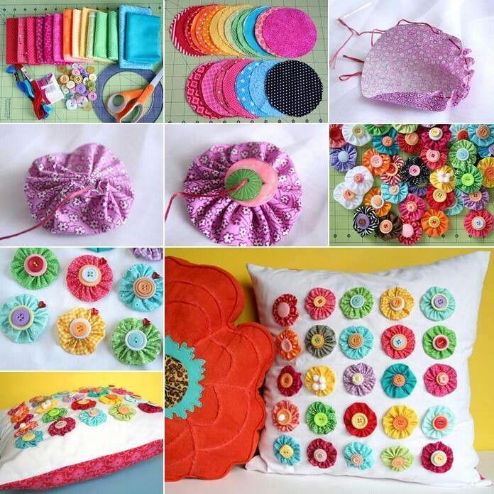 Diy Cojines.Decoracion De Flores De Tela Para Cojines Pillow Crafts