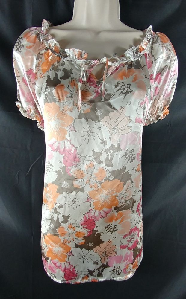 "~Chanteuse. ~Multi-color, floral, short sleeve satin night shirt. 100% Polyester. ~Woman's Plus Size 1X – 49"" around the bust. From the top of the shoulder, to the very bottom of the hem, the length is 27"" long. 