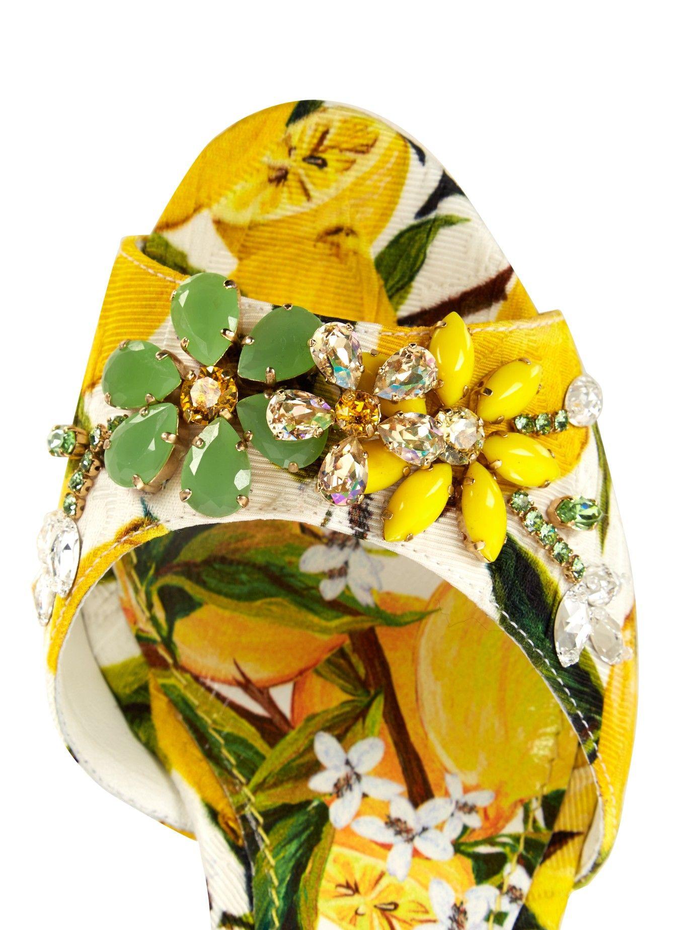 Lemon-print embellished wedge sandals  | Dolce & Gabbana | MATCHESFASHION.COM US