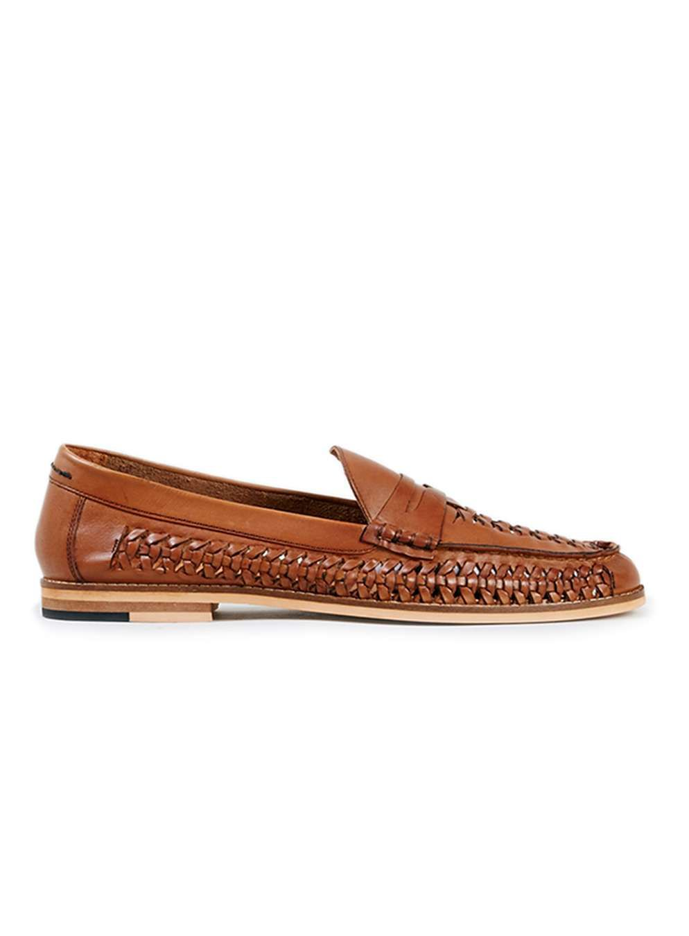 MARNE Tan Leather Woven Loafers - Men's Casual Shoes - Shoes & Accessories