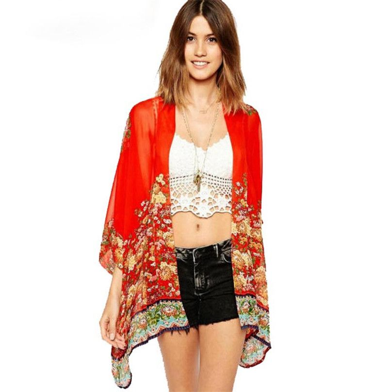 Luck dog Fashion Floral Chiffon Kimono Women Cardigan Elegant Lace ...