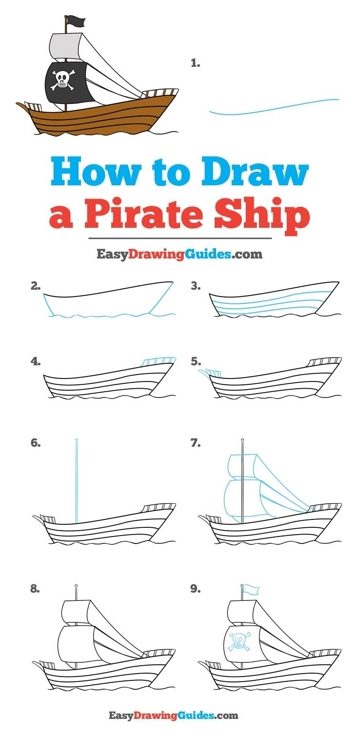 How To Draw A Pirate Ship Really Easy Drawing Tutorial Mermaids