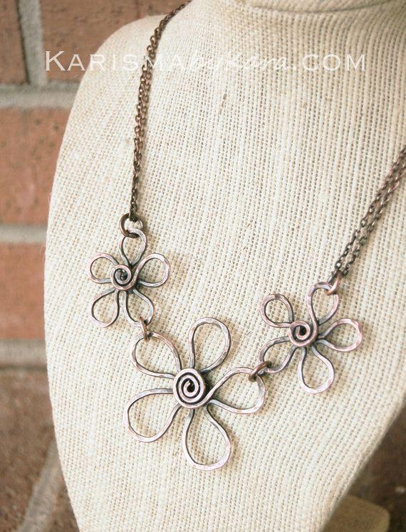 Flower Necklace. Copper. Bib. Textured. Oxidized. Wire Jewelry ...