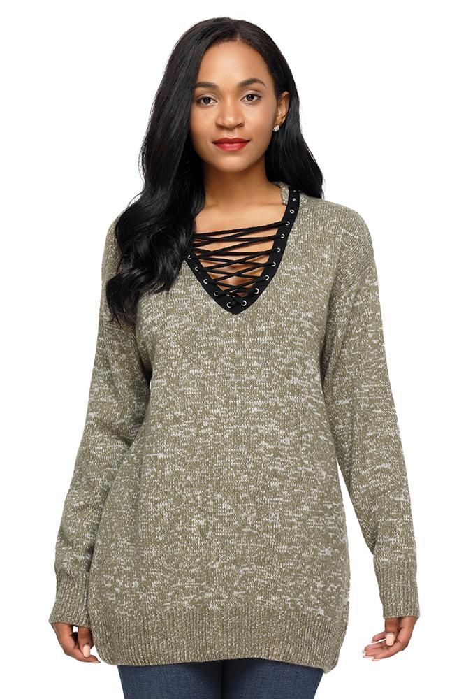 Chic Olive Lace up Neckline Long Sleeve Sweater  f81eed22d