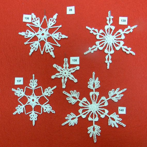PDF Patterns for 5 Crocheted Snowflakes - set 28 | Christmas ...