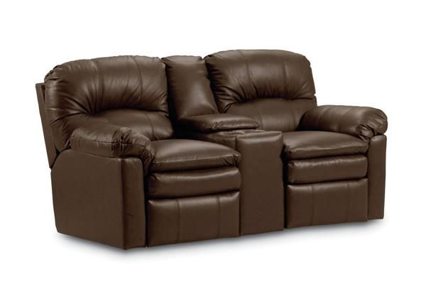 Touchdown Brown Leather Double Reclining Console Loveseat W Storage