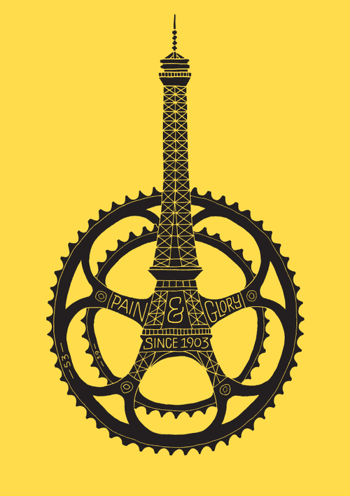 A poster to commemorate the 100th anniversary of the Tour de France by Dave Foster