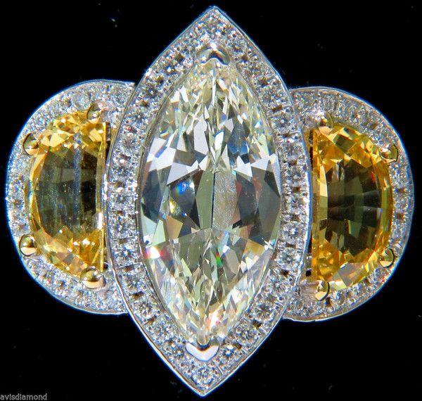 GIA 18KT 7.82CT MARQUISE DIAMOND YELLOW SAPPHIRE RING NO HEAT UNHEATED