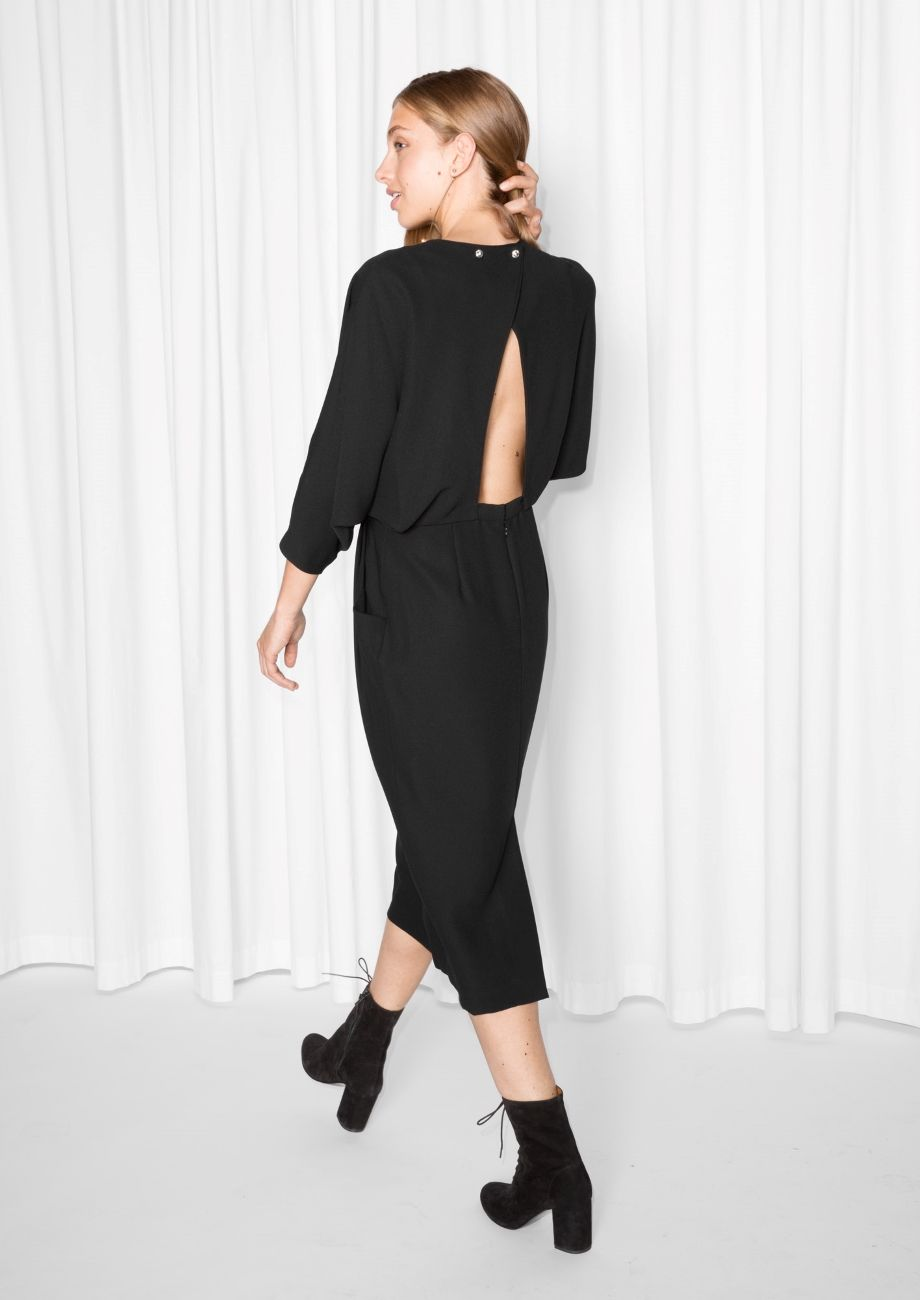 Other Stories Image 1 Of Open Back Dress In Black Attractive Dresses Open Back Dresses Dress Backs