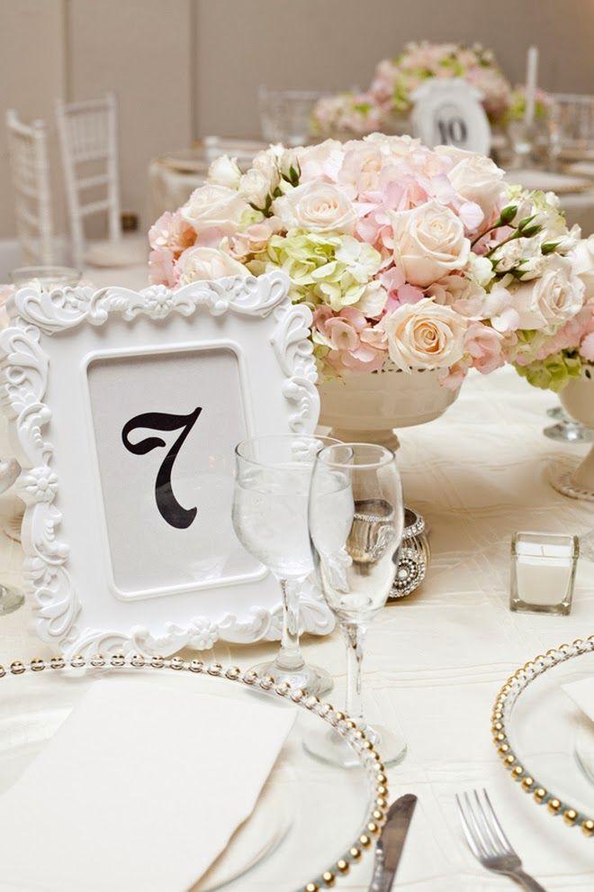Timeless +  Elegant centerpiece and table number ~ Ben Elsass Photography | bellethemagazine.com