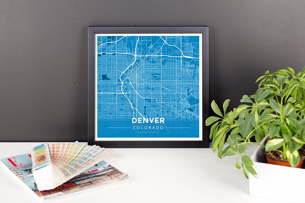 Framed Map Poster of Denver Colorado - Modern Blue Contrast - Denver ...