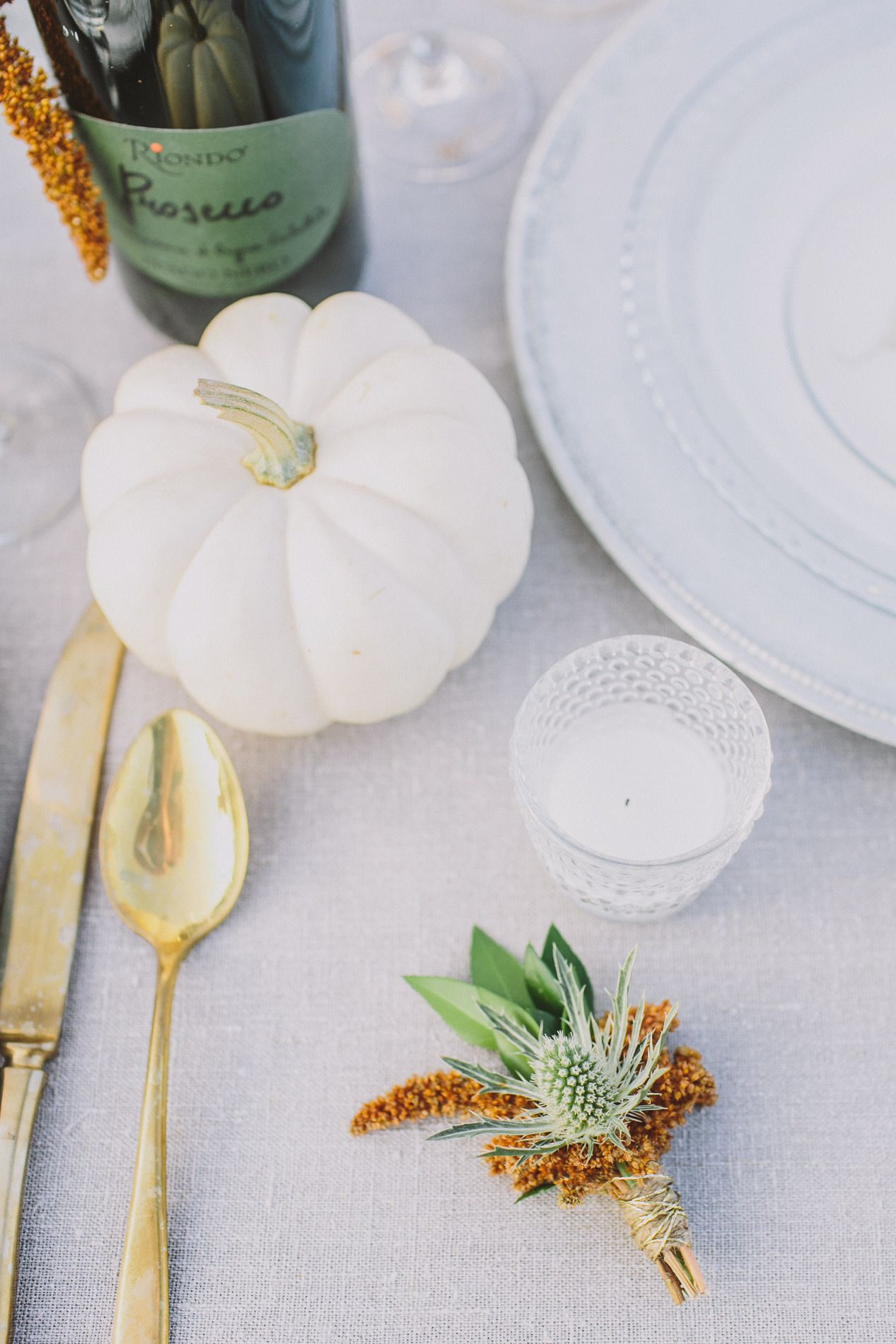 Pumpkin place setting | Autumn Inspiration Shoot from Anna Delores Photography  Read more - http://www.stylemepretty.com/california-weddings/2013/10/31/autumn-inspiration-shoot-from-anna-delores-photography/