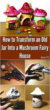 How to turn an old glass into a mushroom fairy house  DIY GArden How to turn an old glass into a mushroom fairy house  DIY GArden
