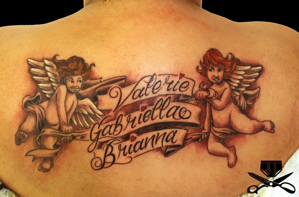 cherub holding banner tattoo hautedraws tats pinterest banners tattoo designs and tattoo. Black Bedroom Furniture Sets. Home Design Ideas