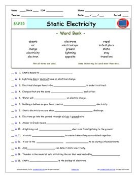 Differentiated Video Worksheet Quiz  Ans for Bill Nye  Static