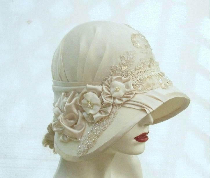 61018d97 Custom Made Vintage Style Ivory Cloche Wedding Hat by Gail's Custom Hats |  CustomMade.com