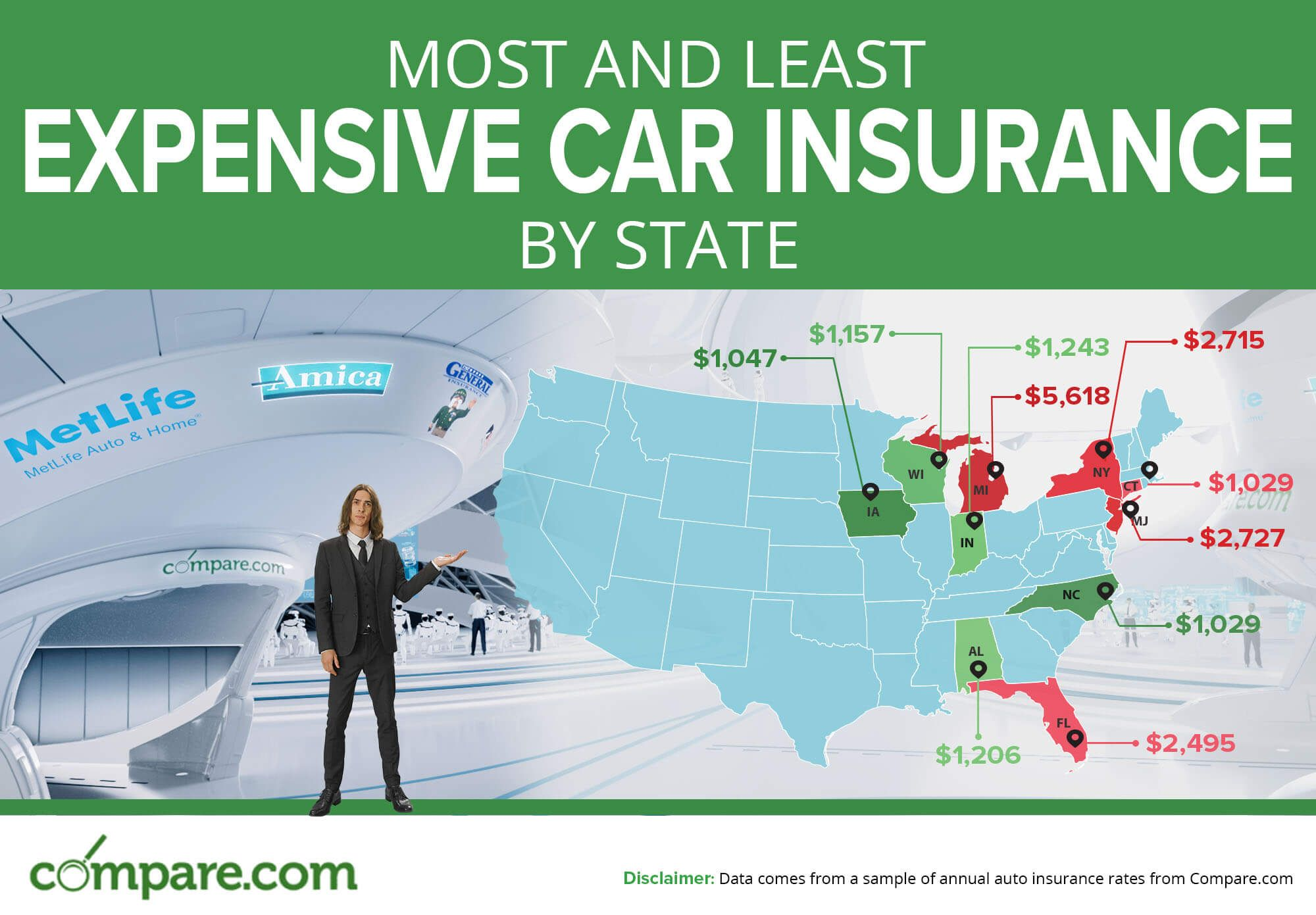Compare Car Insurance Prices By State In Our Infographic Car Insurance Car Insurance Comparison Inexpensive Car Insurance