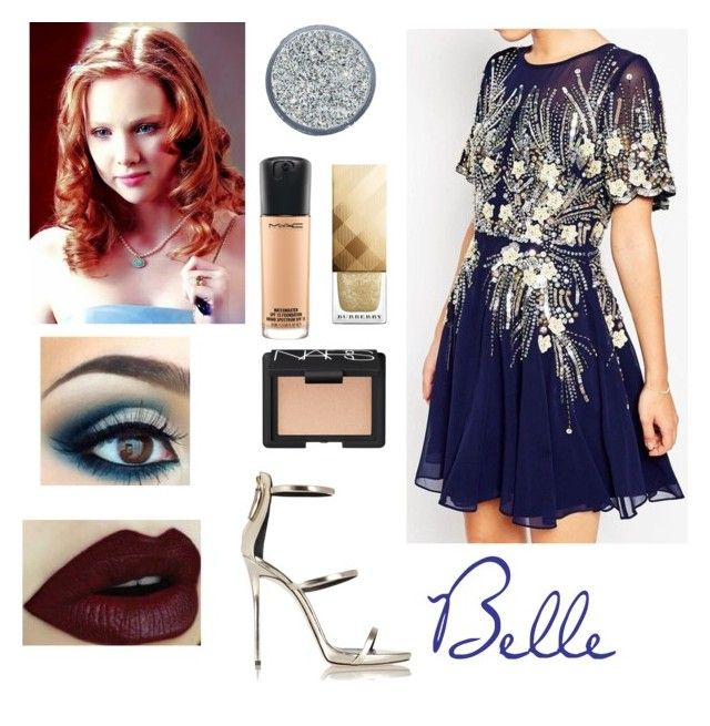 """""""Belle - New Year"""" by skyexxxx ❤ liked on Polyvore featuring ASOS, Giuseppe Zanotti, MAC Cosmetics, NARS Cosmetics and Burberry"""