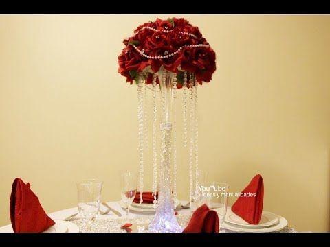 Centro de mesa elegante para bodas 15 a os muy facil de for Centros de mesa faciles de hacer