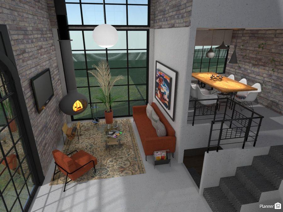 Living room interior, LOFT, PLANNER 5D | Externos