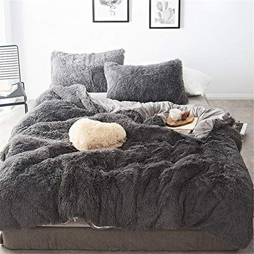Lotus Karen Shaggy Duvet Cover Set Super Soft Fuzzy Faux Fur 3 Piece Comforter Cover Set Elegant Cozy Microf In 2020 Gray Bed Set Bed Linens Luxury Velvet Bedding Sets