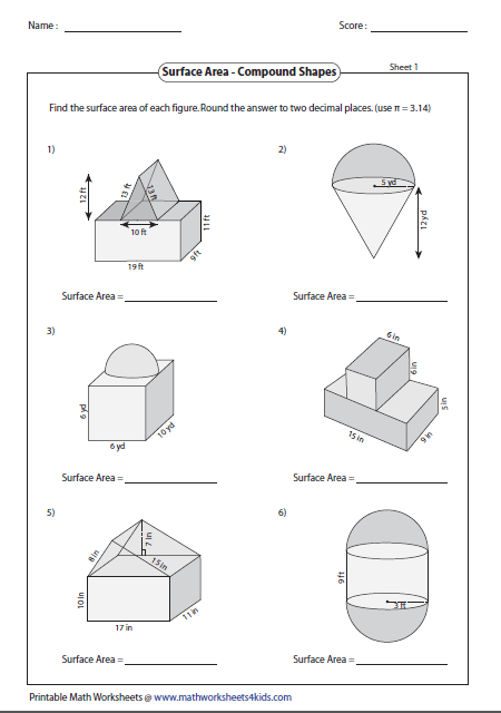 Surface area of compound shapes. | Geometry Worksheets | Geometry ...