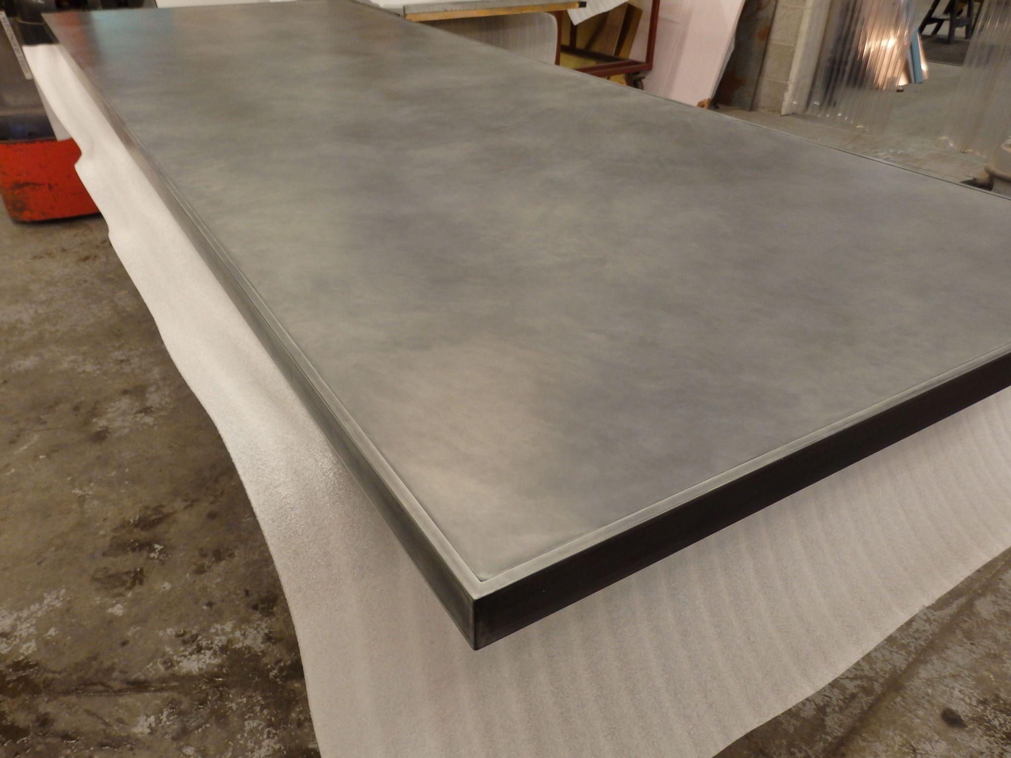 174 Large Zinc Table Top Edge Trimmed Zinc Table Zinc Table Top Zinc Countertops