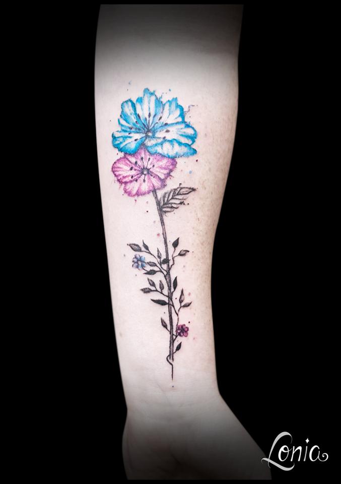Lonia Troyes Bras Avant Bleu Violet Tattoo Tatouage Fleur Tige Rose nO0PwX8k