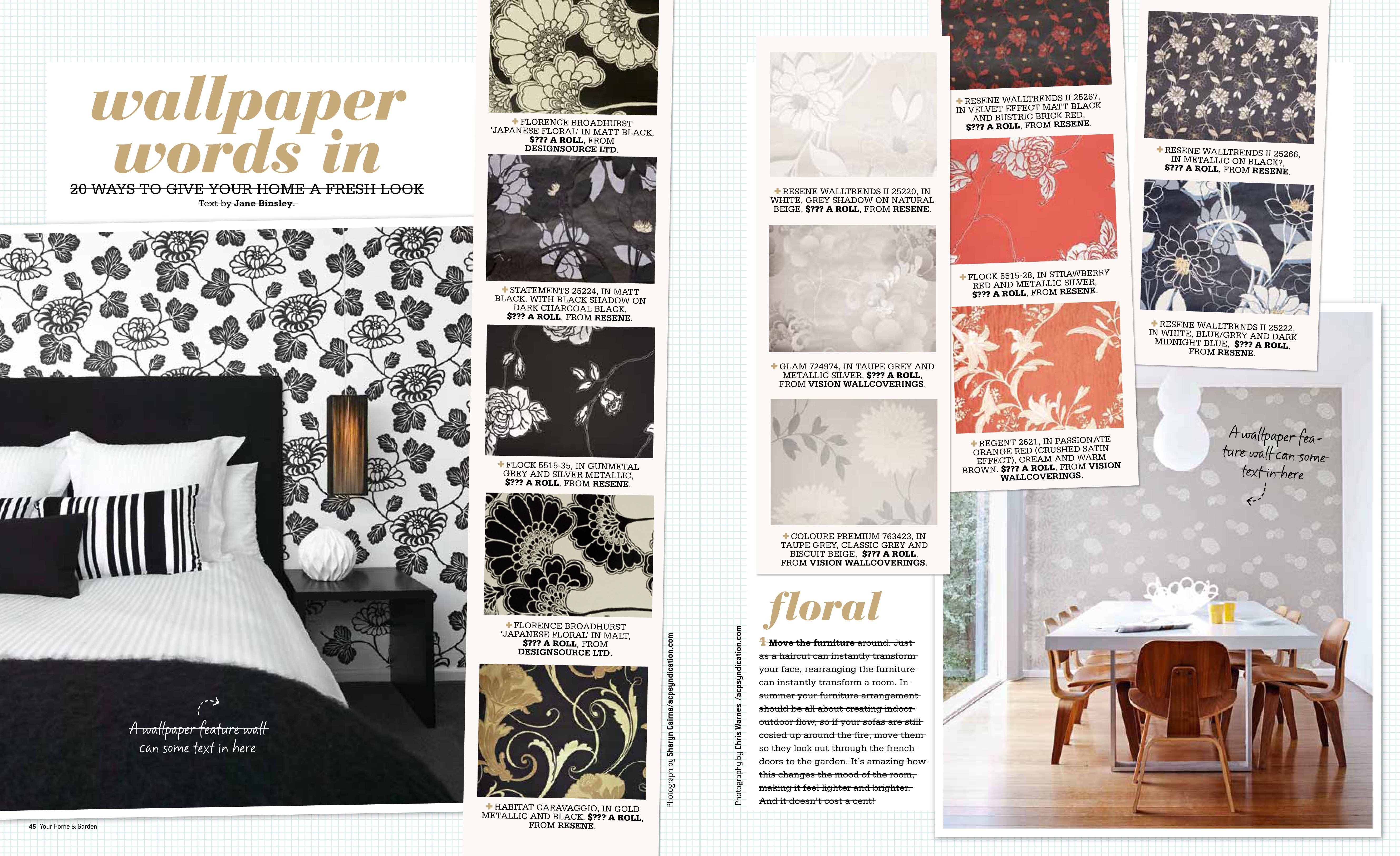 Various patterns of Australian wallpaper. Design by Florence Broadhurst.