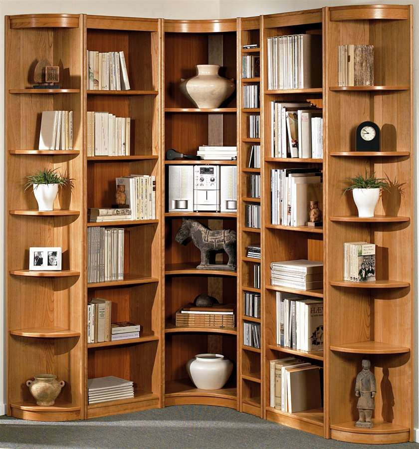 Design Wooden Corner Bookcase With Shelves Clic The Amazing Of Bookshelf