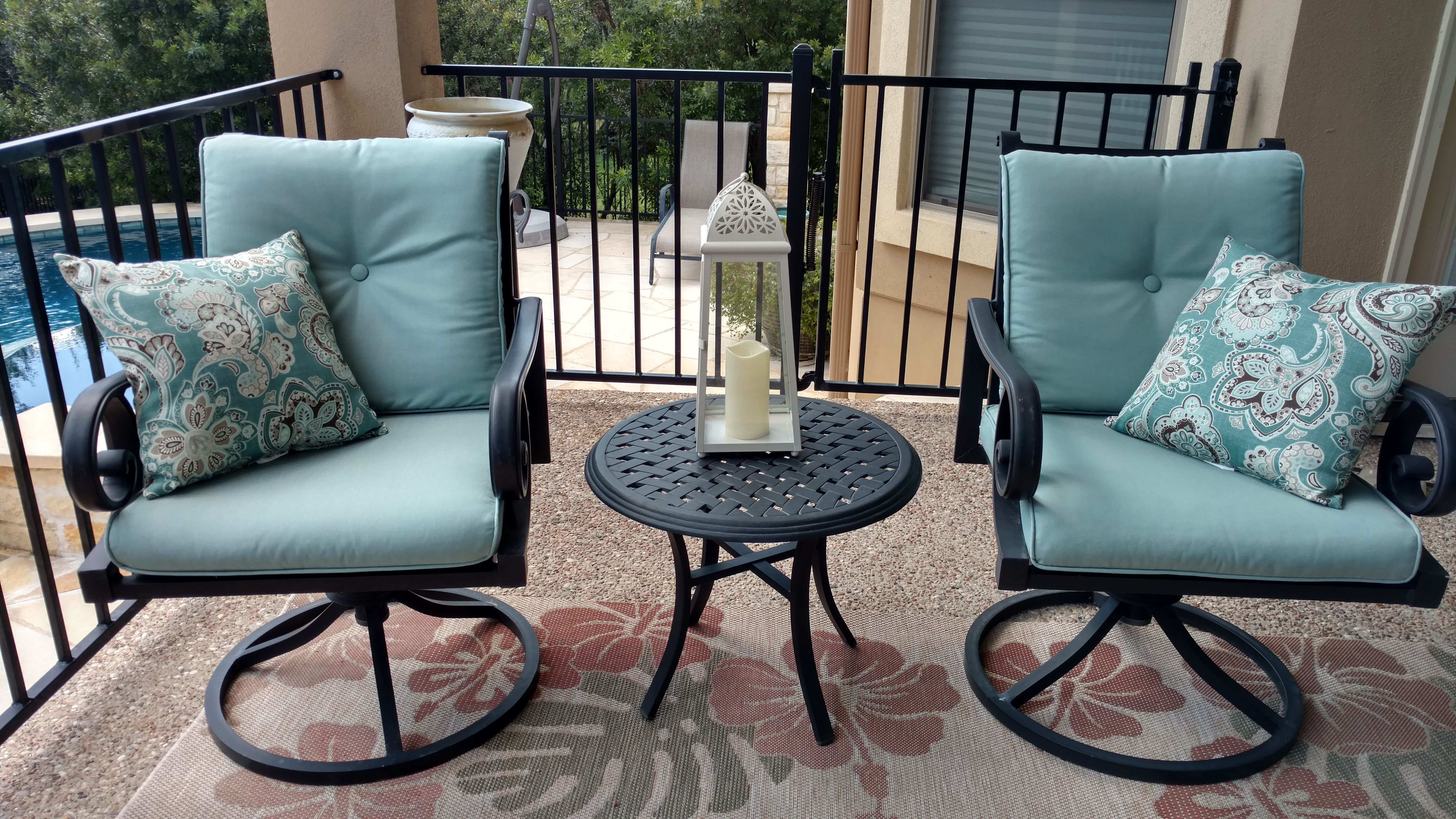 Outdoor Furniture Cushions Covered In Sunbrella Canvas Spa Upholstery Fabric