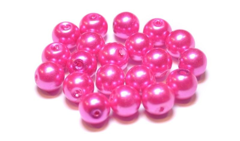 Glas parel 8 mm fel roze ( 20 st)  GP3001 www.beadscreations.nl