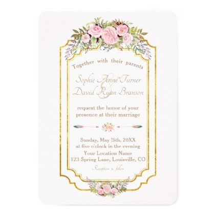 Charm blush pink floral gold wedding card wedding invitations charm blush pink floral gold wedding card wedding invitations cards custom invitation card design marriage stopboris Gallery