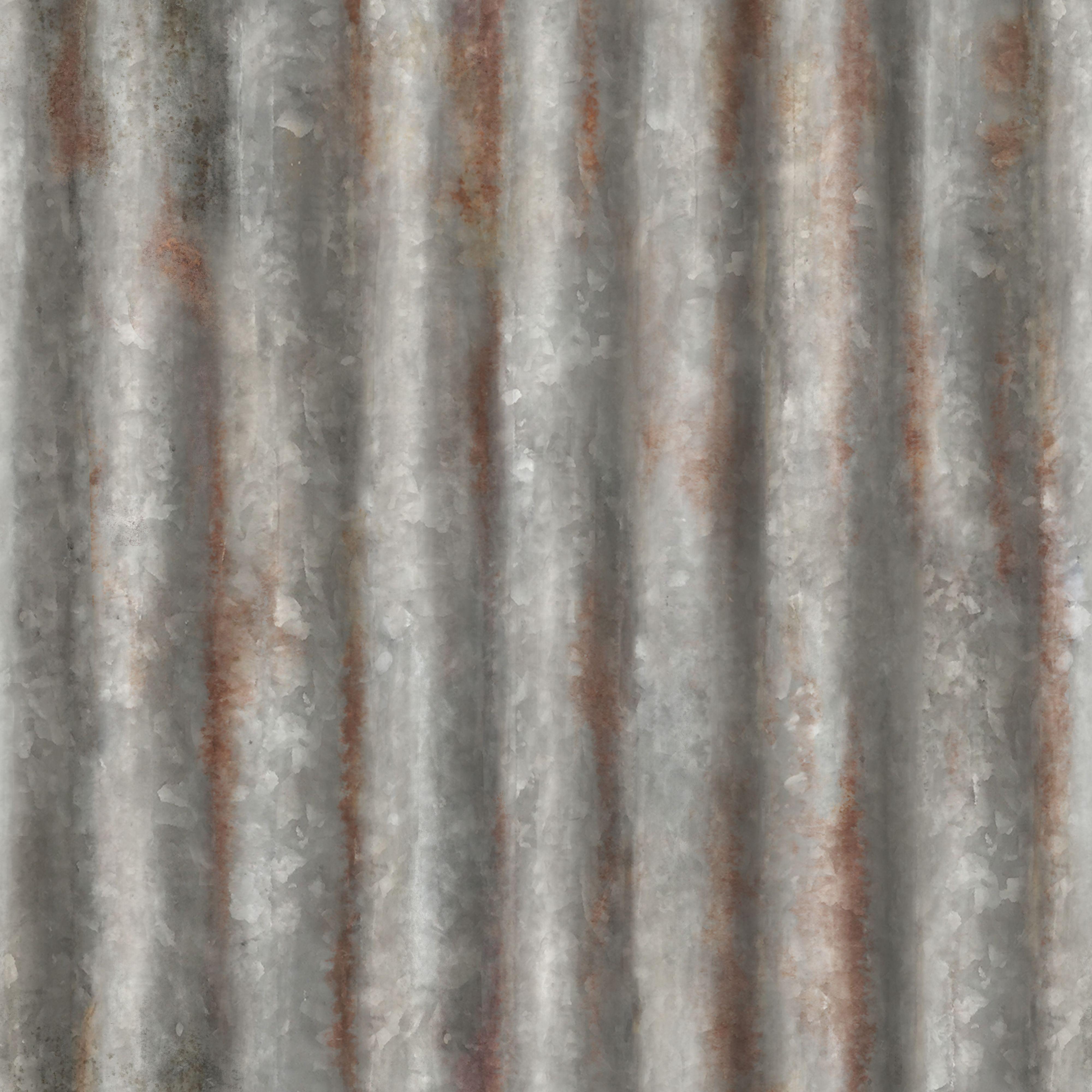 Silver Corrugated Metal Metallic Wallpaper