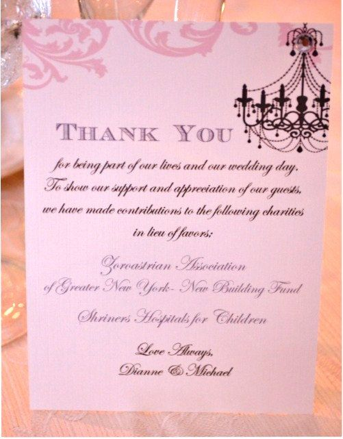 Donation Thank You Cards in lieu of favors *Price Varies by QTY by - donation thank you letter