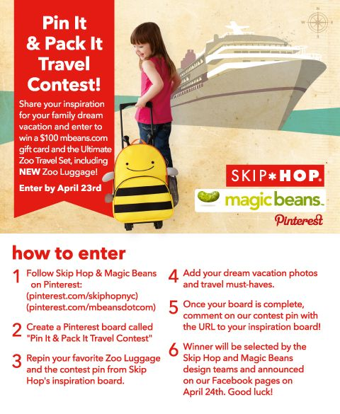 Pin it & Pack it! Enter to win our new Zoo Luggage and gift certificate to Magic Beans - just follow the steps in this pin!