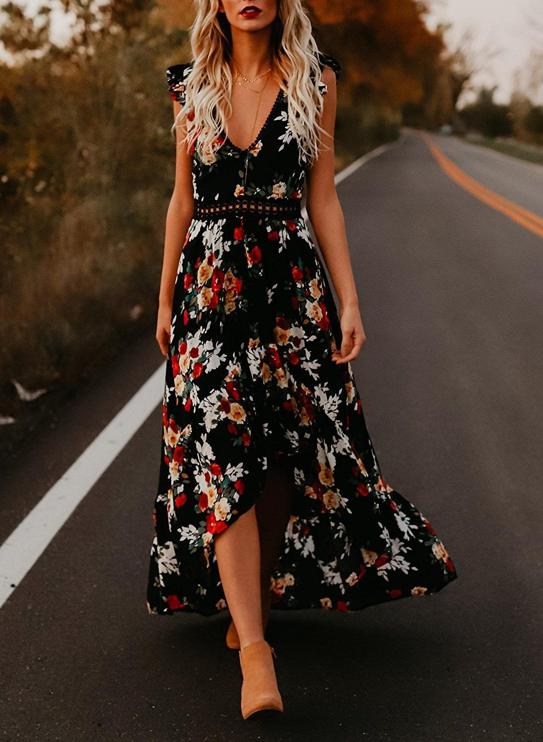 4d01a56494a2 Bbalizko Womens Sleeveless Long Party Dress Floral Print Embroidered  High-Low Hem Maxi Dress at