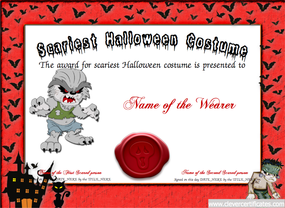 Pretty Halloween Costume Certificate Template Pictures Award