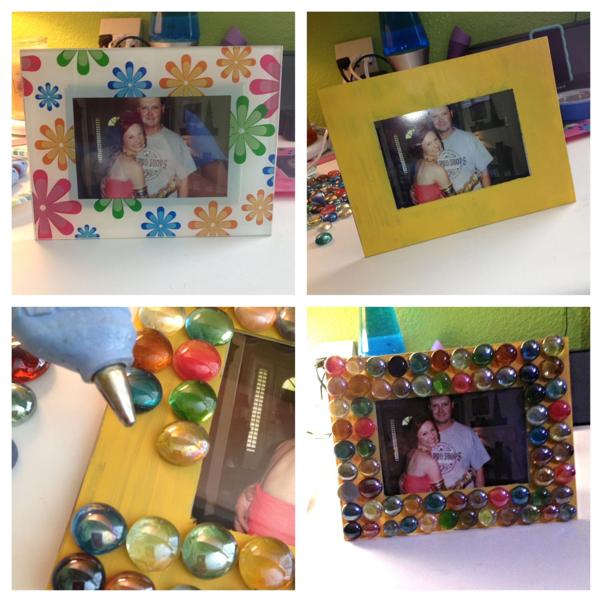 Make the cutest frame!!  What you'll need: mosaic gems from hobby lobby, acrylic paint, hot glue and a picture frame!  First color the picture frame any color you want. Then hot glue the mosaic tiles on the frame in any order or fashion you like. And then you have a completely new frame. Great for redecorating and spicing things up! And super easy DIY.