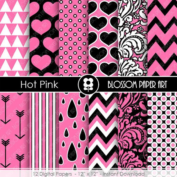 Digital Paper - Hot Pink and Black Digital Paper Pack - Girls - Hot Pink Digital Paper Pack  - Scrapbooking Paper - Scrapbook - 1662