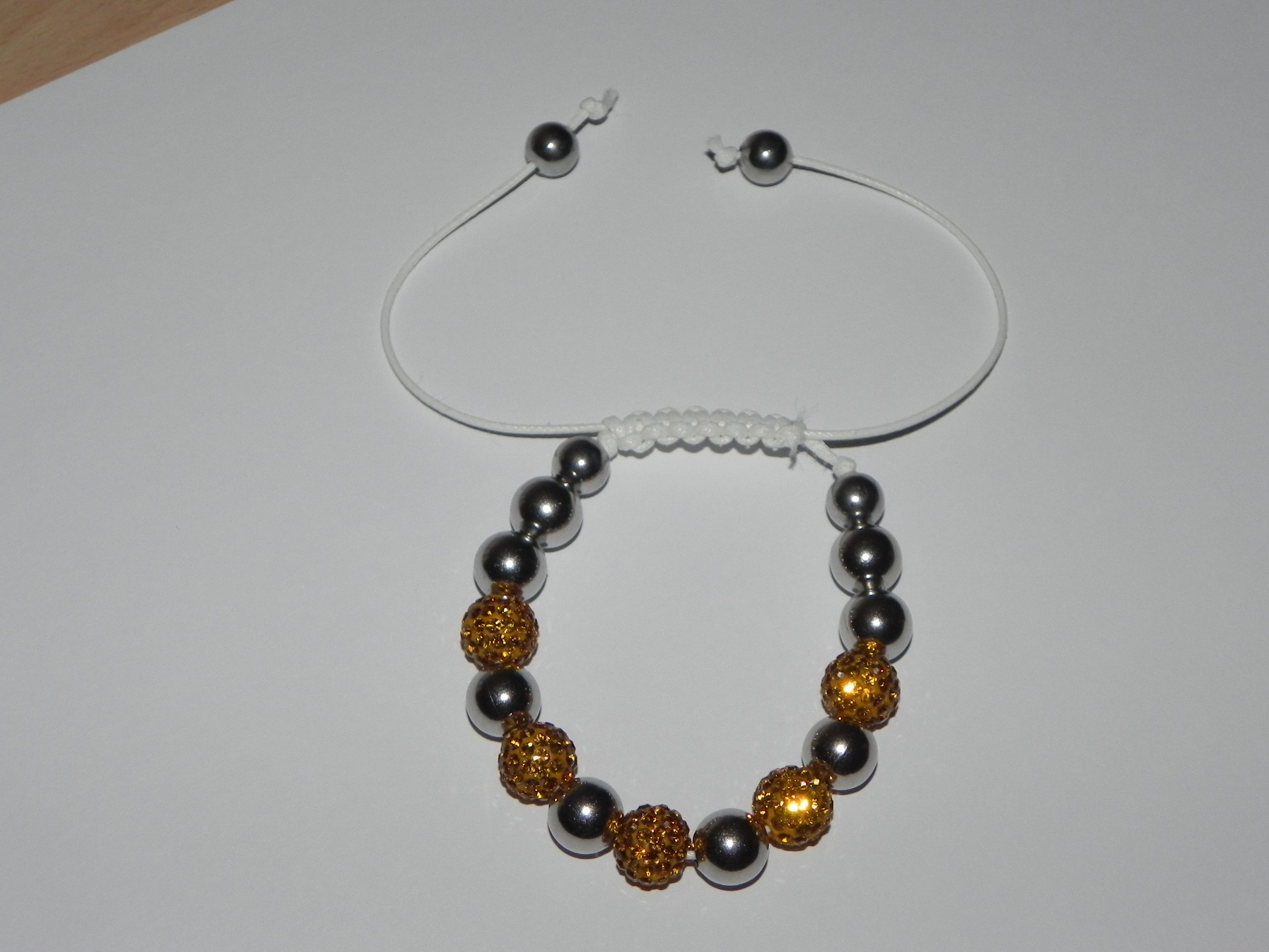 Hand Made Gold and Silver Shamballa Style Bracelet     Price £10.00