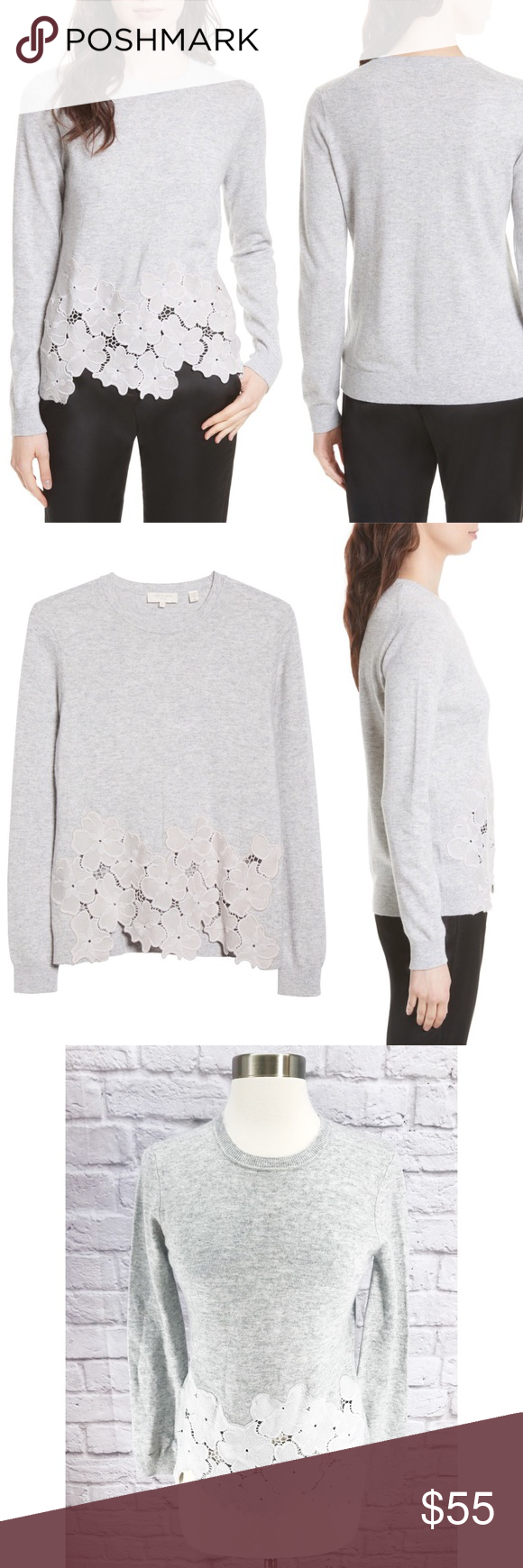 f40a263d0e1b0 •Ted Baker London• Jaya Lace Hem Sweater Gray Excellent Condition! Merino  Wool
