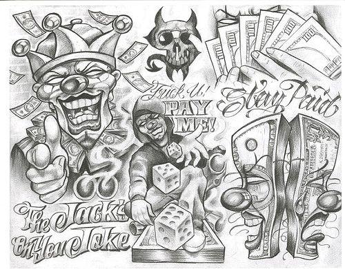 Chicano Tattoo Designs Tattoovoorbeeld Boog Tattoo Chicano Art Tattoos Tattoo Design Drawings