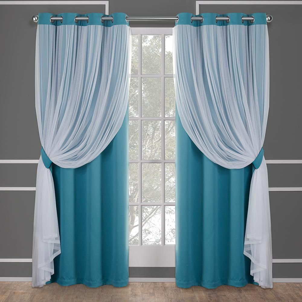 Amalgamated Textiles Catarina Turquoise Layered Solid Blackout And