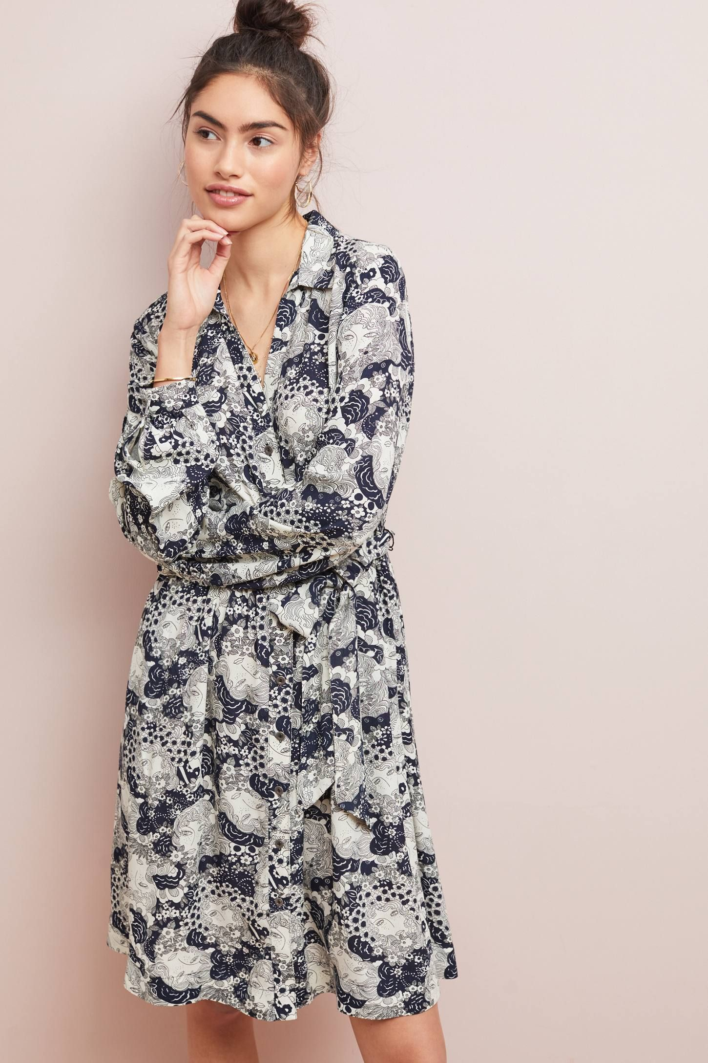 90deb992655436 Colloquial Long-Sleeved Shirtdress in 2019