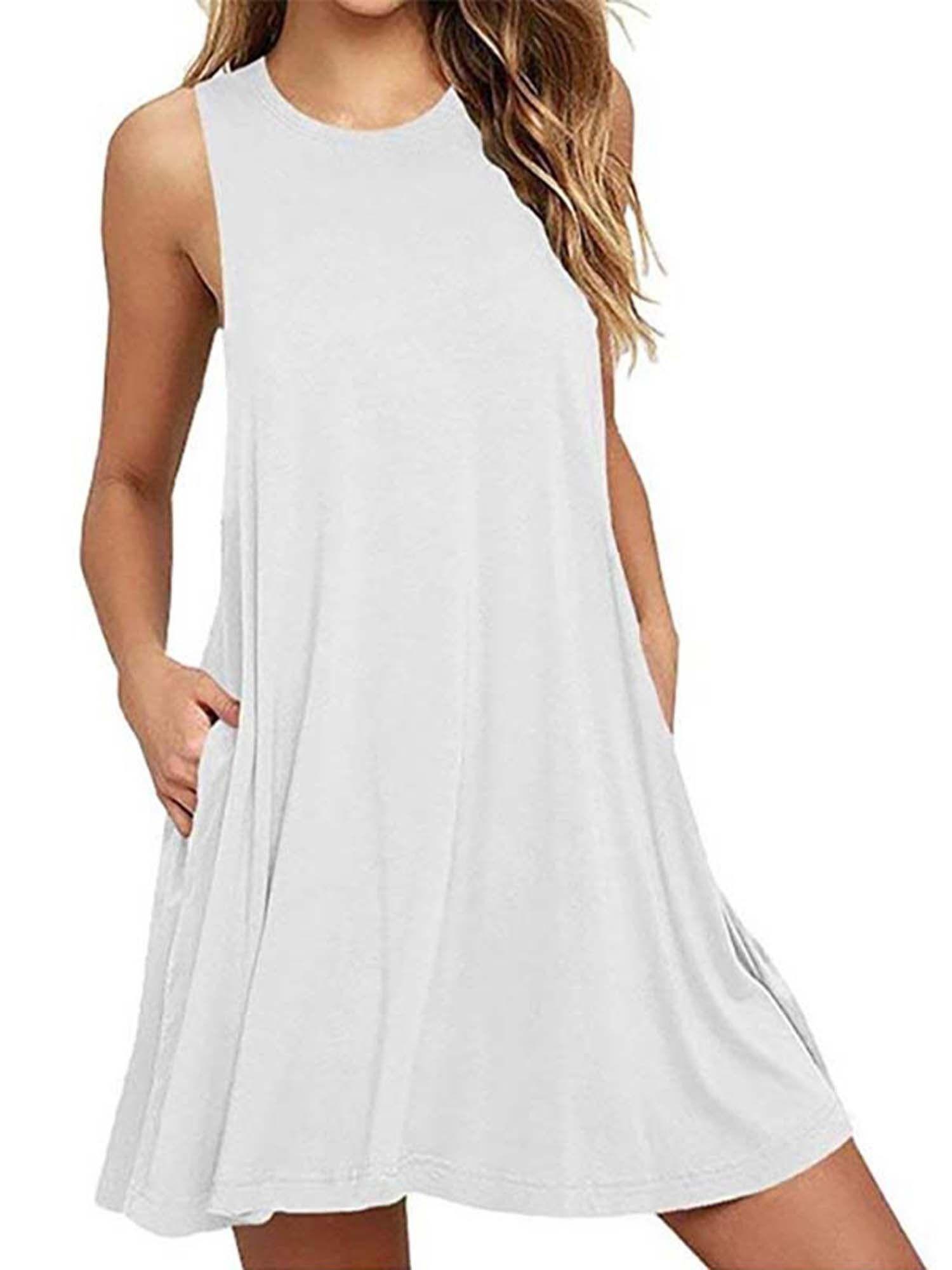 Wodstyle Women S Plus Size Sleeveless Swing Mini Dresses Summer Beach A Line Sundress Walmart Com Casual Summer Dresses Cotton Tank Dress Mini Shirt Dress [ 2000 x 1500 Pixel ]