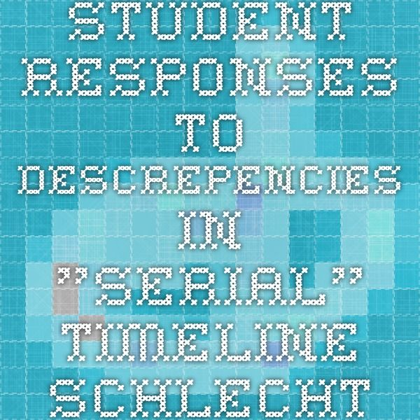 "Student responses to descrepencies in ""Serial"" timeline schlechter.edublogs.org"