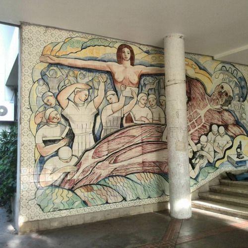 Mural de Francisco Naváez en Instituto Anatómico, Medicina, #UCV, Ciudad Universitaria